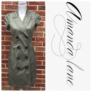 Amanda Lane Olive Green Coat dress Size 8P